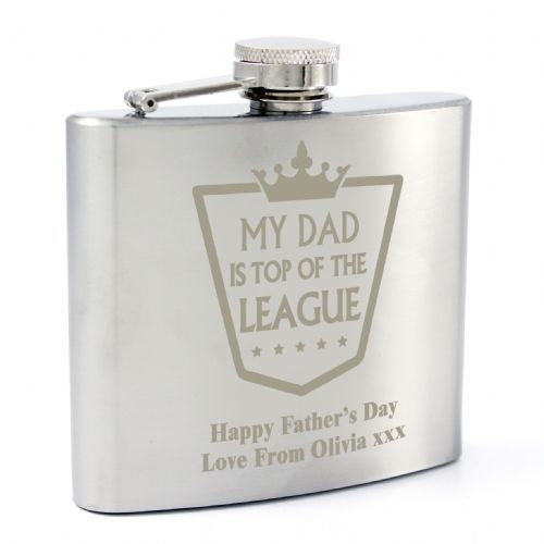 Personalised Top of the League Hip Flask